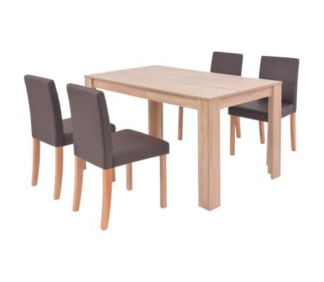 vidaXL Valgomojo stalas ir kėdės, 5vnt., dirbtinė oda, ąžuolas, ruda[2/13]