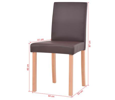 vidaXL Valgomojo stalas ir kėdės, 5vnt., dirbtinė oda, ąžuolas, ruda[13/13]