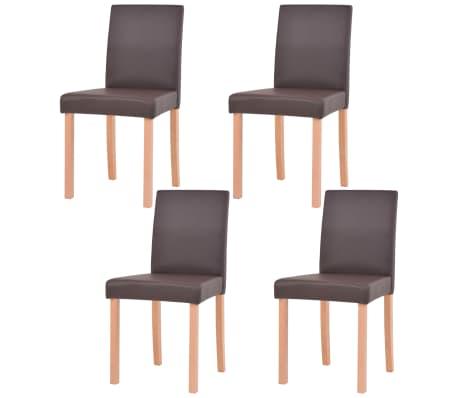 vidaXL Valgomojo stalas ir kėdės, 5vnt., dirbtinė oda, ąžuolas, ruda[5/13]