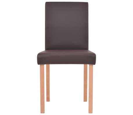 vidaXL Valgomojo stalas ir kėdės, 5vnt., dirbtinė oda, ąžuolas, ruda[7/13]