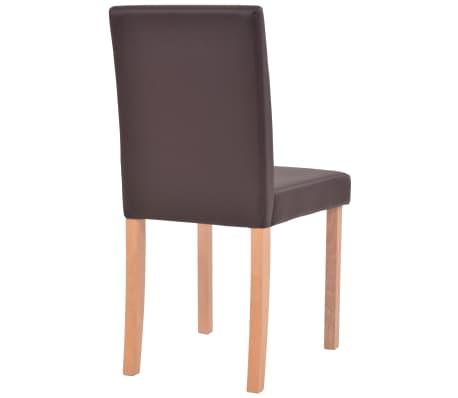vidaXL Valgomojo stalas ir kėdės, 5vnt., dirbtinė oda, ąžuolas, ruda[9/13]