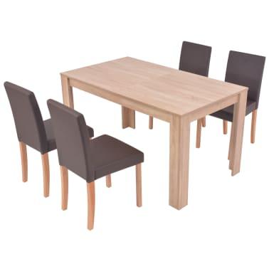 vidaXL Valgomojo stalas ir kėdės, 5vnt., dirbtinė oda, ąžuolas, ruda[3/13]