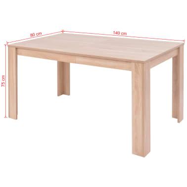 vidaXL Valgomojo stalas ir kėdės, 5vnt., dirbtinė oda, ąžuolas, ruda[12/13]