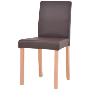 vidaXL Valgomojo stalas ir kėdės, 5vnt., dirbtinė oda, ąžuolas, ruda[6/13]