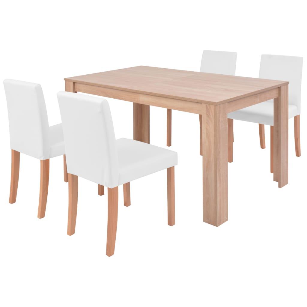 vidaXL Τραπεζαρία & Καρέκλες 5 τεμ. Κρεμ Συνθετικό Δέρμα / Ξύλο Δρυός