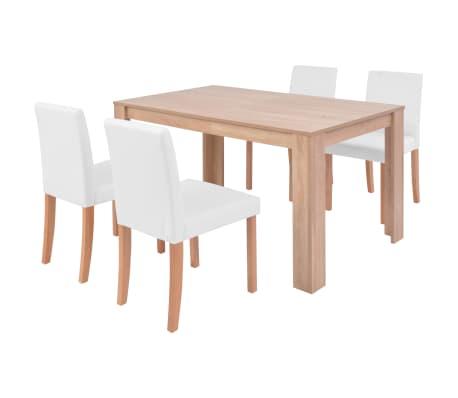 vidaXL Jedilna miza in stoli 5 delni komplet umetno usnje hrast krem[2/13]