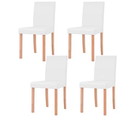 vidaXL Jedilna miza in stoli 5 delni komplet umetno usnje hrast krem[5/13]