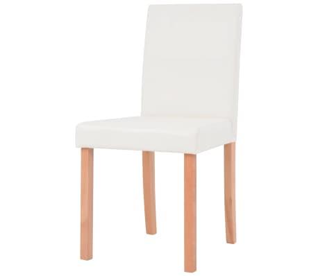 vidaXL Jedilna miza in stoli 5 delni komplet umetno usnje hrast krem[6/13]