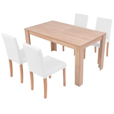 vidaXL Jedilna miza in stoli 5 delni komplet umetno usnje hrast krem[3/13]
