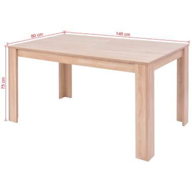 vidaXL Jedilna miza in stoli 5 delni komplet umetno usnje hrast krem[12/13]