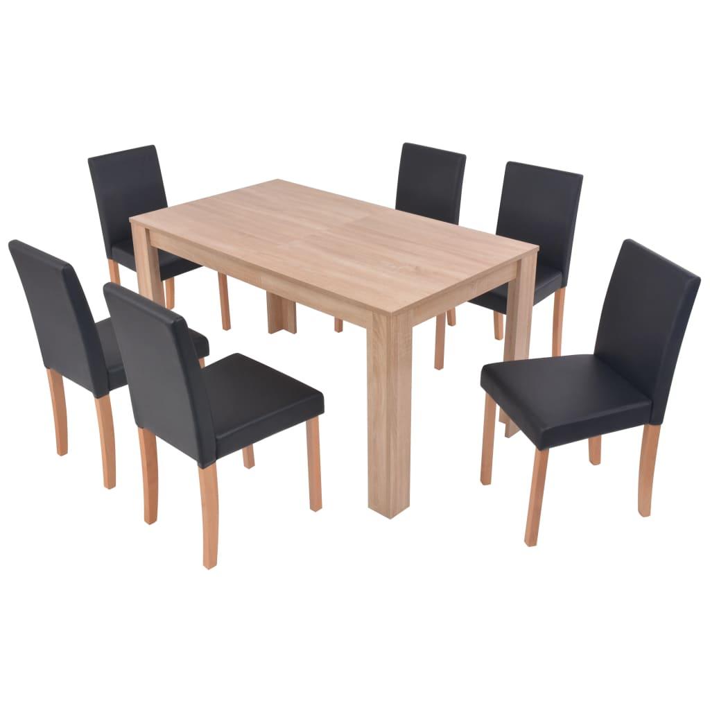 vidaXL Τραπεζαρία & Καρέκλες 7 τεμ. Μαύρα Συνθετικό Δέρμα / Ξύλο Δρυός