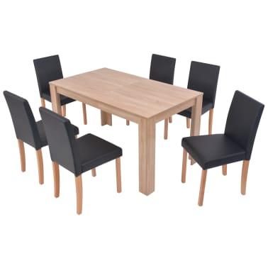 vidaXL Eettafel met stoelen kunstleer en eikenhout zwart 7 st[2/13]