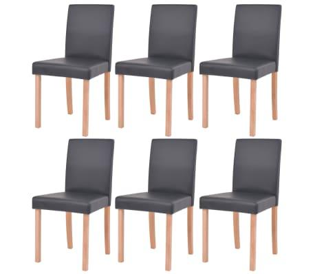 vidaXL Eettafel met stoelen kunstleer en eikenhout zwart 7 st[5/13]