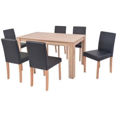 vidaXL Eettafel met stoelen kunstleer en eikenhout zwart 7 st[3/13]