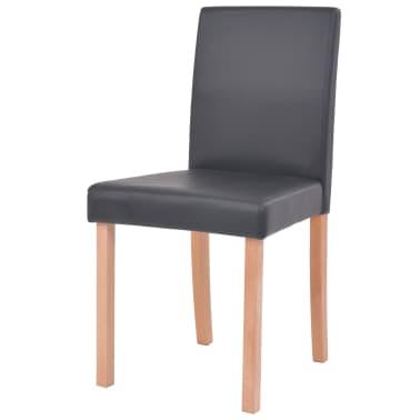 vidaXL Eettafel met stoelen kunstleer en eikenhout zwart 7 st[6/13]