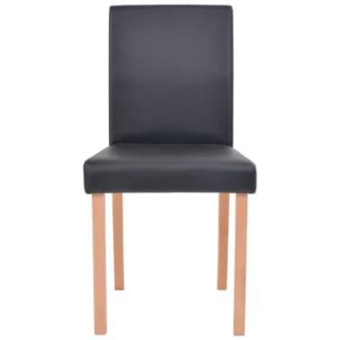 vidaXL Eettafel met stoelen kunstleer en eikenhout zwart 7 st[7/13]