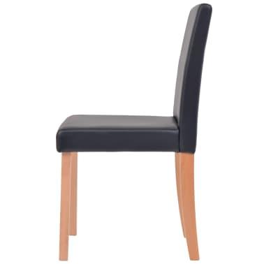 vidaXL Eettafel met stoelen kunstleer en eikenhout zwart 7 st[8/13]