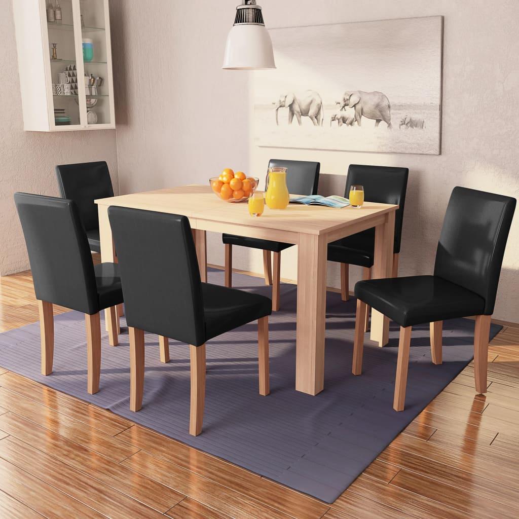 vidaXL Eettafel met stoelen kunstleer en eikenhout zwart 7 st