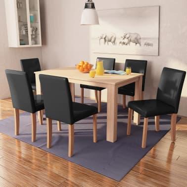 vidaXL Eettafel met stoelen kunstleer en eikenhout zwart 7 st[1/13]