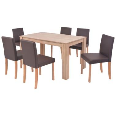 vidaXL 7dílná sada jídelního stolu a židlí, umělá kůže a dub, hnědá[2/13]