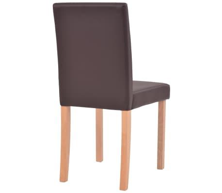 vidaXL 7dílná sada jídelního stolu a židlí, umělá kůže a dub, hnědá[9/13]