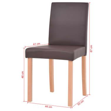 vidaXL 7dílná sada jídelního stolu a židlí, umělá kůže a dub, hnědá[13/13]