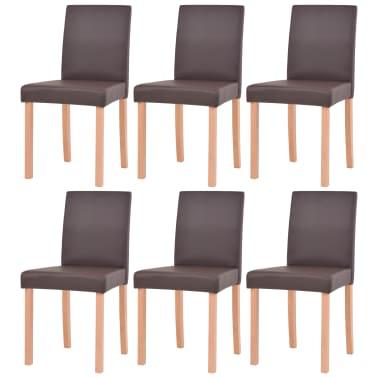 vidaXL 7dílná sada jídelního stolu a židlí, umělá kůže a dub, hnědá[5/13]