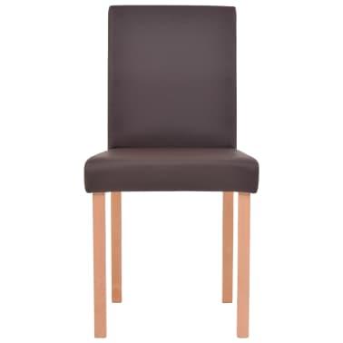 vidaXL 7dílná sada jídelního stolu a židlí, umělá kůže a dub, hnědá[7/13]