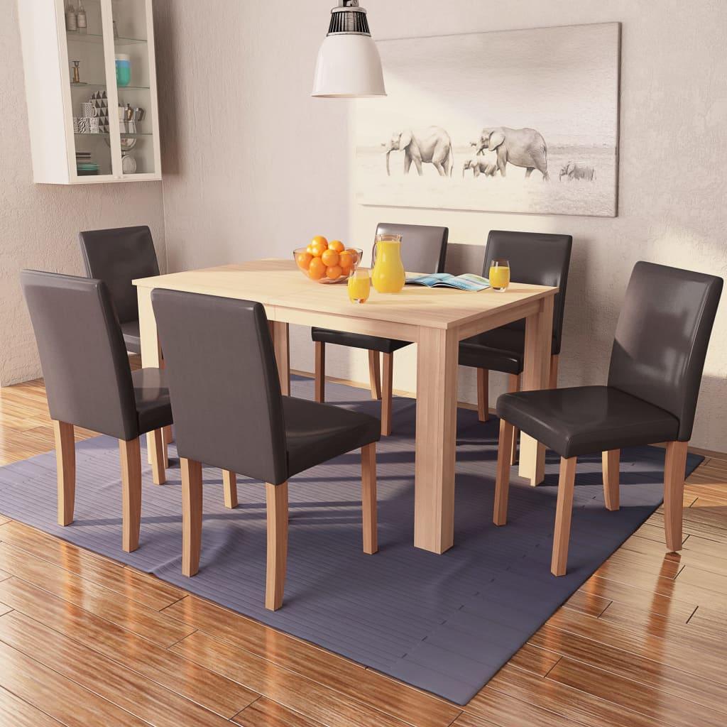 vidaXL Eettafel met stoelen kunstleer en eikenhout bruin 7 st
