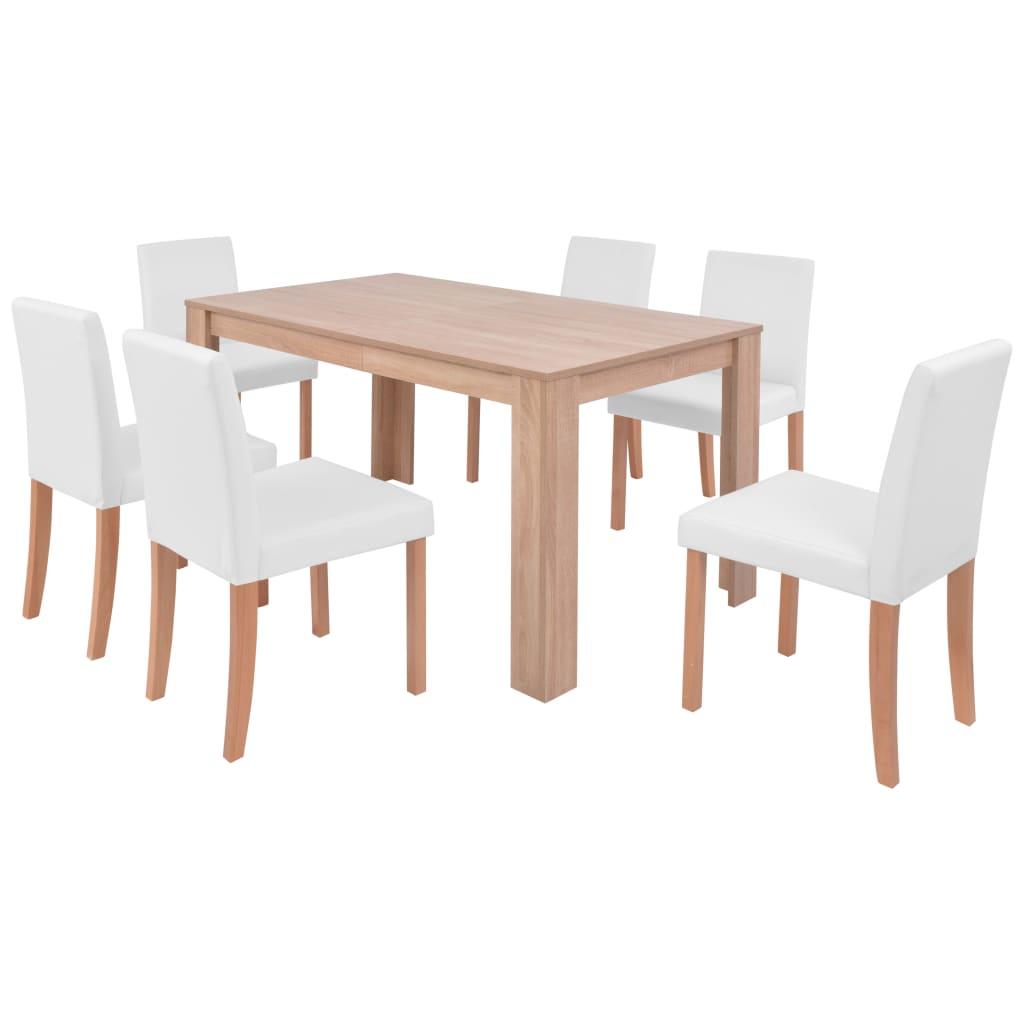 vidaXL Τραπεζαρία & Καρέκλες 7 τεμ. Κρεμ Συνθετικό Δέρμα / Ξύλο Δρυός