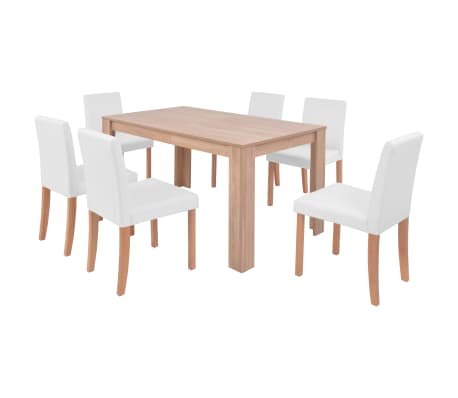 vidaXL Eettafel met stoelen kunstleer en eikenhout crème 7-delig