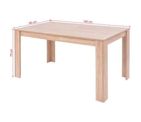 vidaXL Jedilna miza in stoli 7 delni komplet umetno usnje hrast krem[12/13]