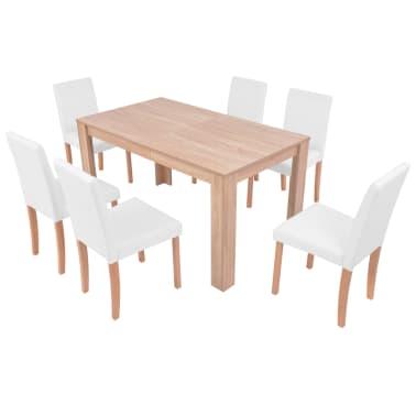 vidaXL Jedilna miza in stoli 7 delni komplet umetno usnje hrast krem[3/13]
