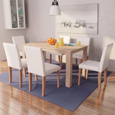 vidaXL Jedilna miza in stoli 7 delni komplet umetno usnje hrast krem[1/13]