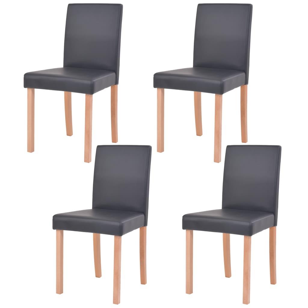 vidaXL Jídelní židle, 4 ks, umělá kůže a bukové dřevo, černé
