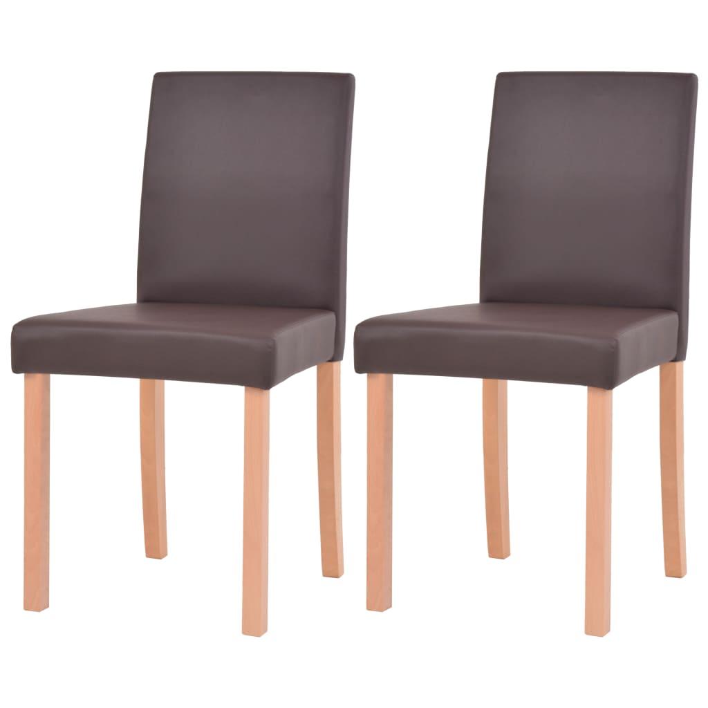 vidaXL Καρέκλες Τραπεζαρίας 2 τεμ. Καφέ Ξύλο Οξιάς / Συνθετικό Δέρμα