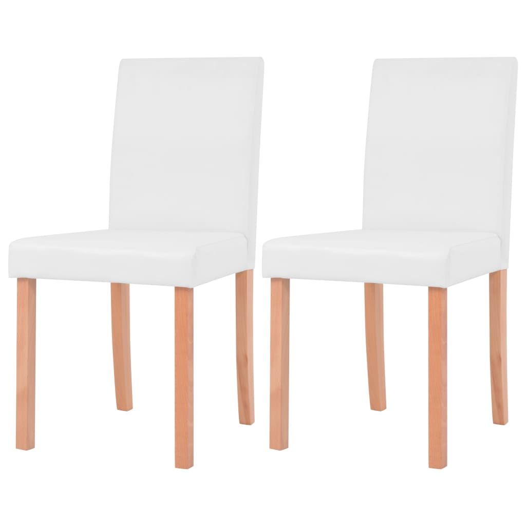 vidaXL Καρέκλες Τραπεζαρίας 2 τεμ. Κρεμ Συνθετικό Δέρμα / Ξύλο Οξιάς