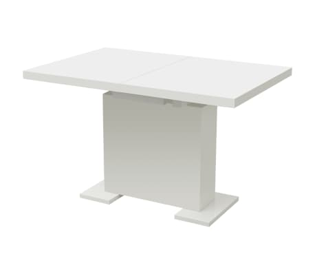 vidaXL Extendable Dining Table High Gloss White[4/8]