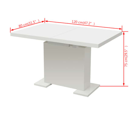 vidaXL Extendable Dining Table High Gloss White[7/8]