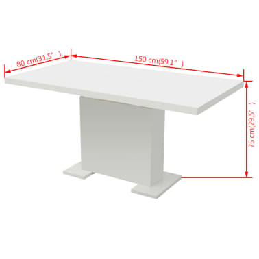 vidaXL Extendable Dining Table High Gloss White[8/8]