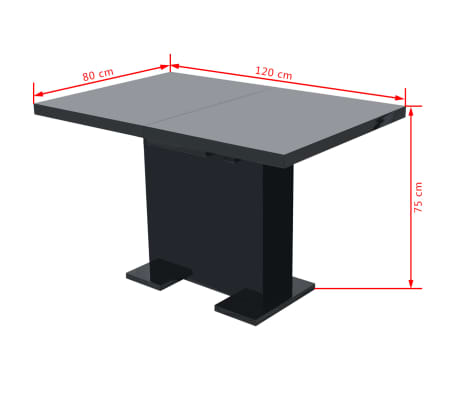 vidaXL Extendable Dining Table High Gloss Black[7/8]