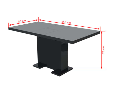 vidaXL Extendable Dining Table High Gloss Black[8/8]