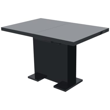 vidaXL Extendable Dining Table High Gloss Black[4/8]