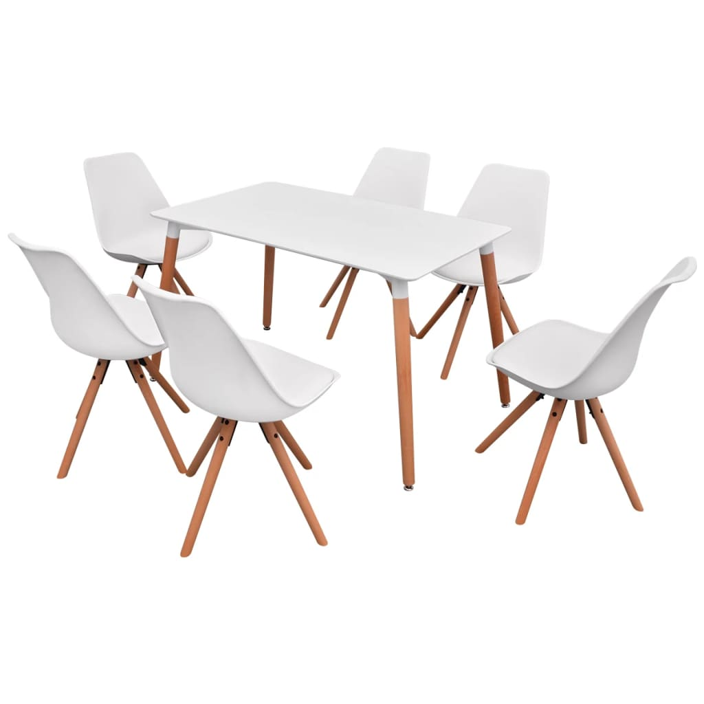 vidaXL Σετ Τραπεζαρίας με Καρέκλες Επτά Τεμαχίων Λευκό