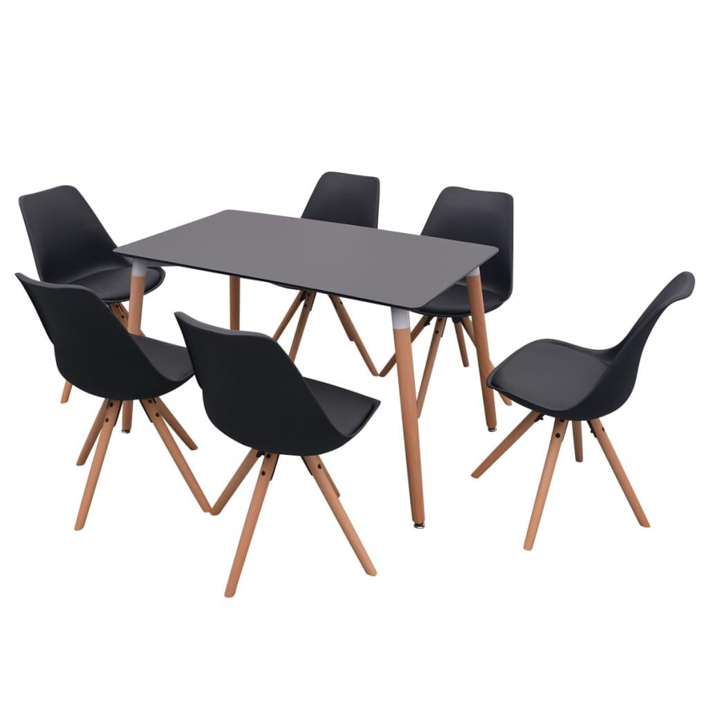 vidaXL Σετ Τραπεζαρίας με Καρέκλες Επτά Τεμαχίων Μαύρο