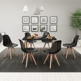 vidaXL virtuves mēbeļu komplekts – galds, krēsli, 7 gab., melns