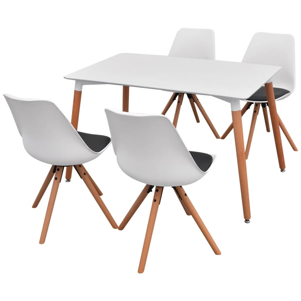 vidaXL Σετ Τραπεζαρίας με Καρέκλες Πέντε Τεμαχίων Λευκό και Μαύρο