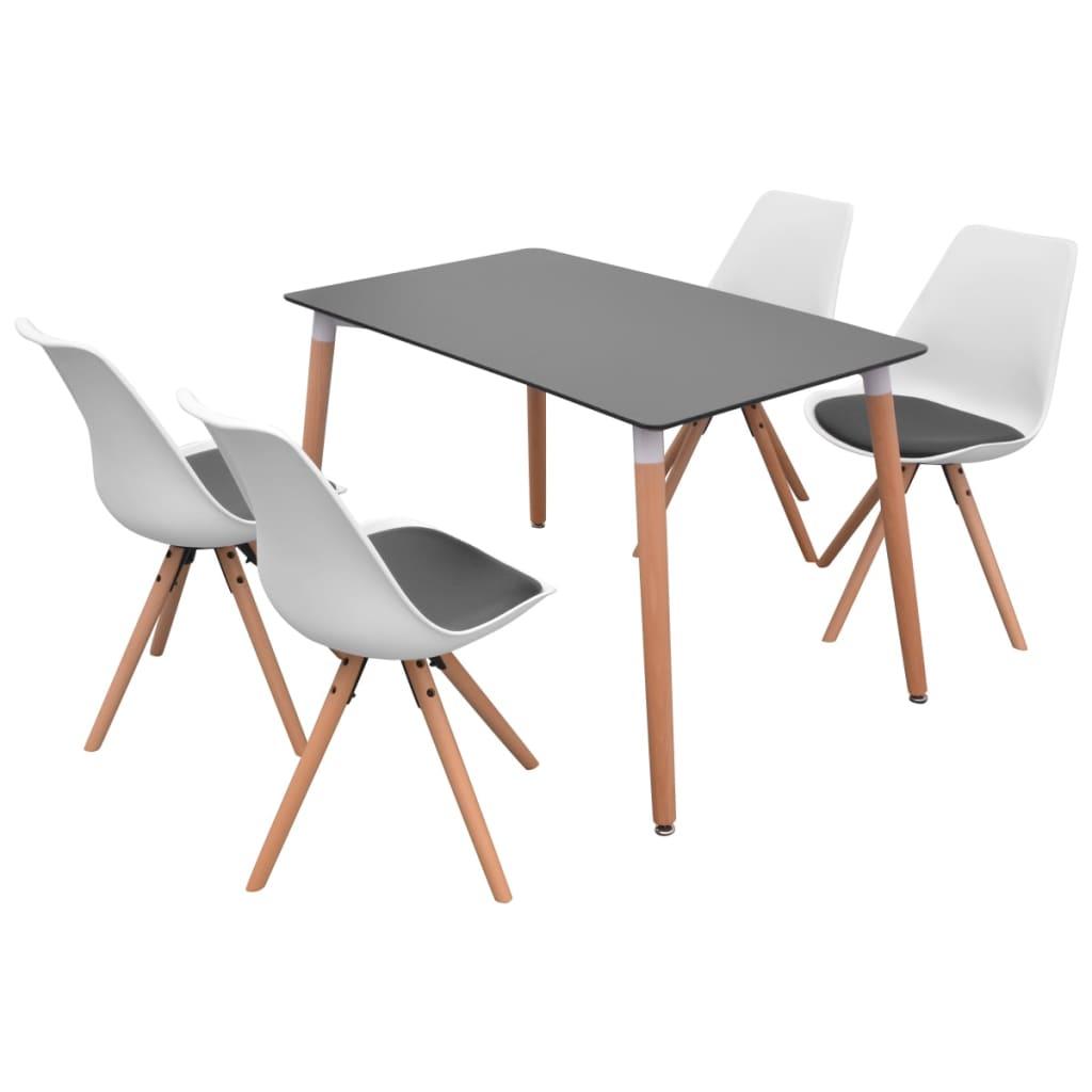 vidaXL Σετ Τραπεζαρίας με Καρέκλες Πέντε Τεμαχίων Ασπρόμαυρο