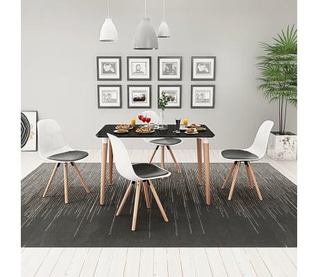 Dettagli su vidaXL 5 Pz Set Tavolo Tavolino e Sedie per Salotto Sala da Pranzo Nero e Bianco