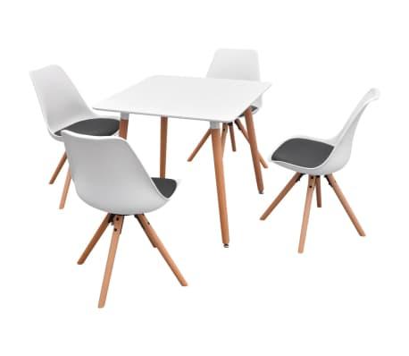 vidaxl 5 teilige essgruppe tisch st hle wei und schwarz g nstig kaufen. Black Bedroom Furniture Sets. Home Design Ideas
